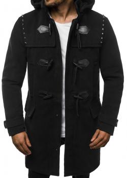 Палто в черен цвят с качулка