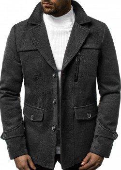 Палто в цвят графит с топла подплата