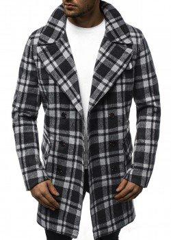 Палто в сиво-черно каре
