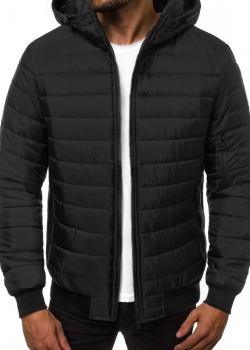 Пролетно-есенно яке в черен цвят с качулка