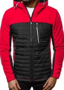 Пролетно-есенно яке в червен цвят с качулка