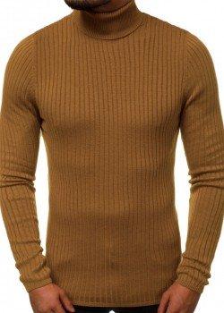 Пуловер с поло яка в кафяв цвят