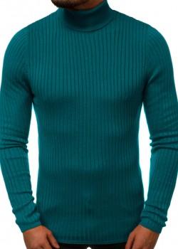 Пуловер с поло яка в зелен цвят