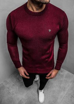Пуловер в цвят бордо с лого