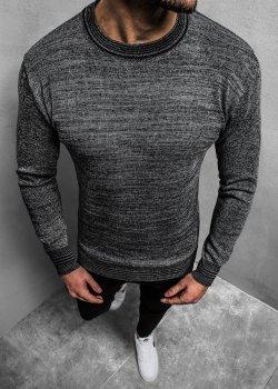 Пуловер в цвят графит с кръгло деколте