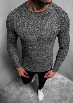 Пуловер в цвят графит с реглан ръкави