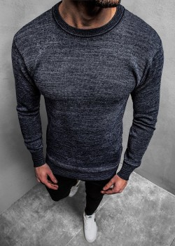 Пуловер в цвят индиго с кръгло деколте
