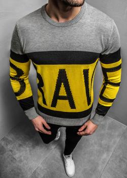 Пуловер в сив цвят с надпис Breezy