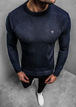 Пуловер в тъмносин цвят с лого