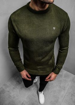 Пуловер в зелен цвят с лого