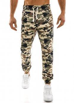 Спортен панталон в бежов камуфлаж