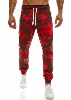 Спортен панталон в червен камуфлаж