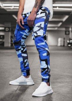 Спортен панталон в син камуфлаж