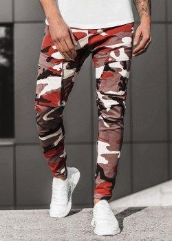 Спортен панталон в тъмночервен камуфлаж