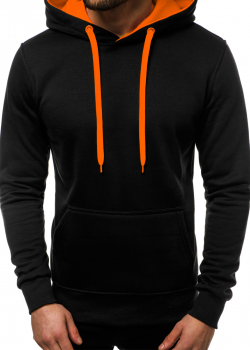 Суичър в черен цвят с контрастна качулка