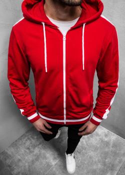 Суичър в червен цвят с цип