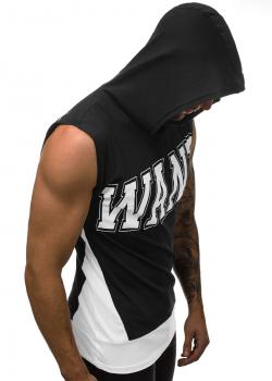 Тениска без ръкави с качулка в черно