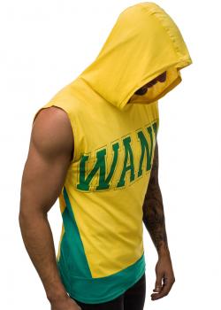 Тениска без ръкави с качулка в жълто