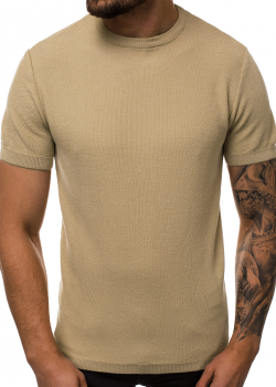 Тениска от фино плетиво в бежов цвят