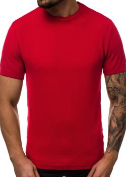 Тениска от фино плетиво в червен цвят