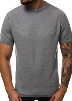 Тениска от фино плетиво в цвят графит