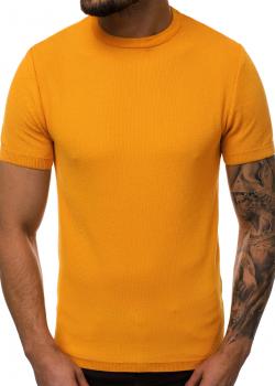 Тениска от фино плетиво в цвят камел