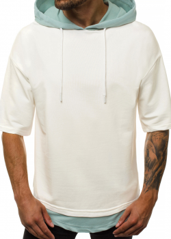 Тениска в цвят екрю с качулка