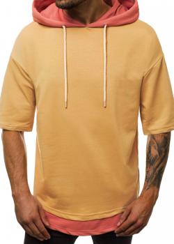 Тениска в цвят камел с качулка