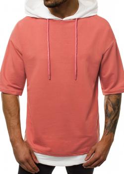 Тениска в розов цвят с качулка