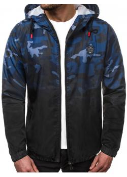 Тънко яке с качулка в син камуфлаж