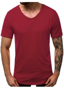 Изчистена памучна тениска в цвят бордо