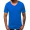 Изчистена памучна тениска в син цвят
