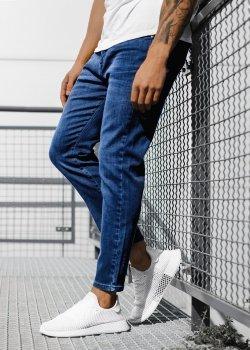 Изчистени дънки в син цвят