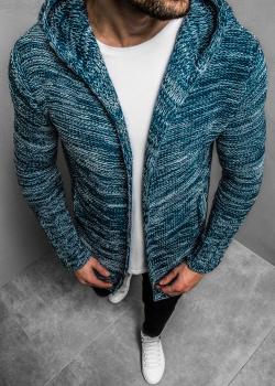 Жилетка с джобове в син цвят