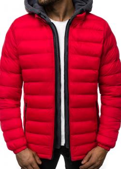 Зимно яке с качулка в червен цвят J. Style