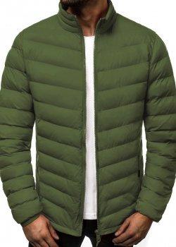 Зимно яке с висока яка в зелен цвят
