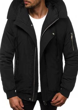 Зимно яке в черен цвят с качулка