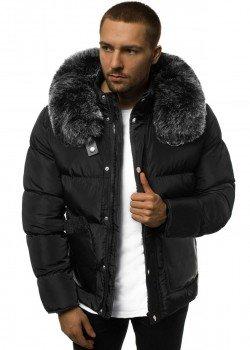 Зимно яке в черен цвят с кожена яка