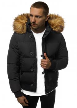 Зимно яке в черен цвят с подвижна качулка