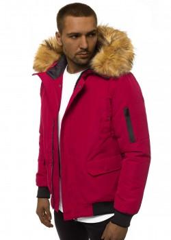 Зимно яке в цвят бордо с подвижна качулка